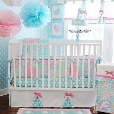 Baby Girl Toddler Crib 3-piece Bedding Set Cotton Cradle Com