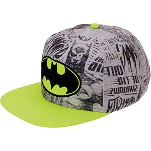 batman logo boys neon flat bill snap