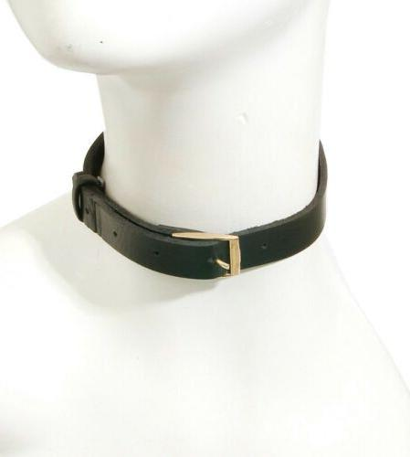 belt buckle faux leather choker statement necklace