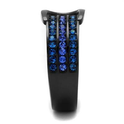 Belt Buckle Ring Black IP Blue 5 9