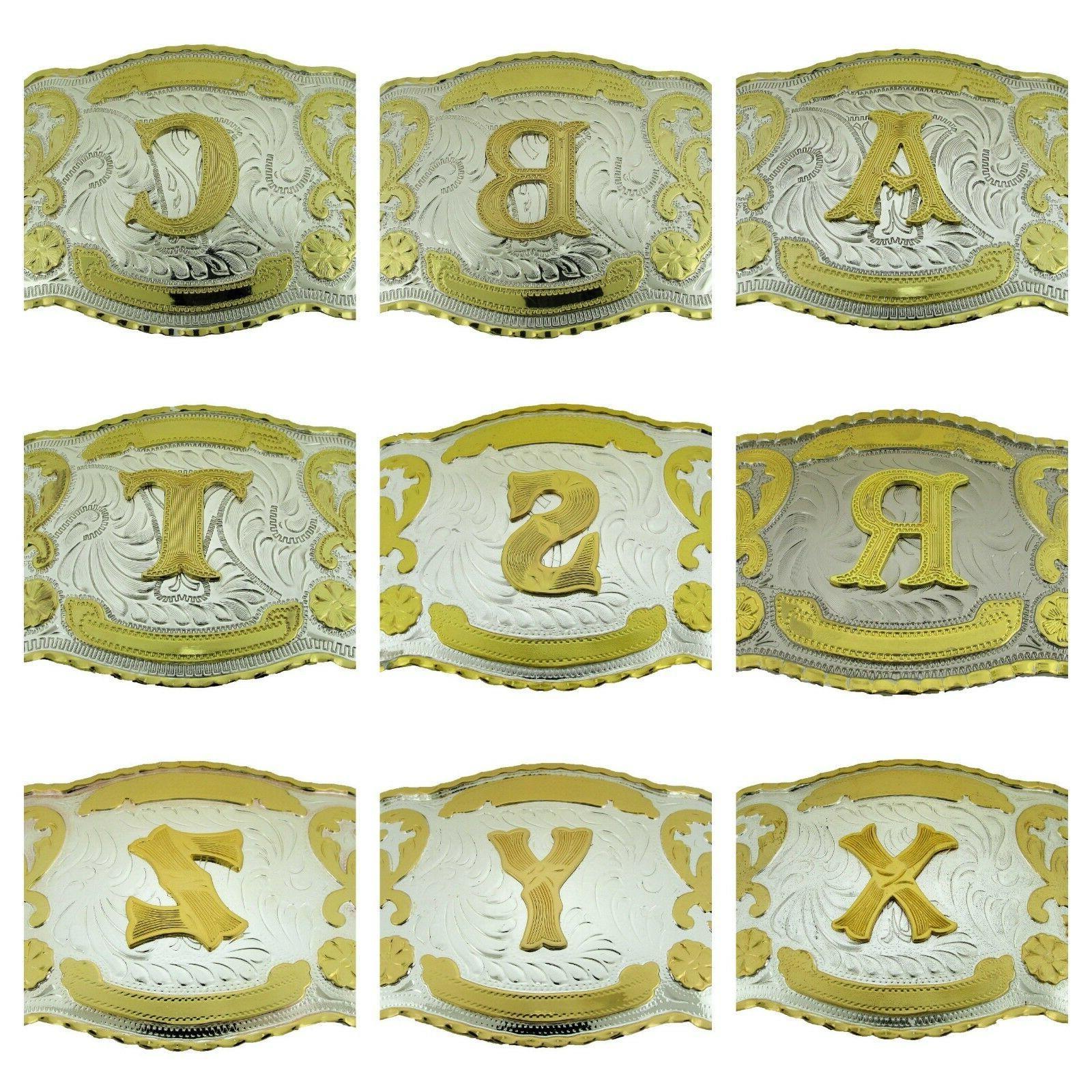 Big Initial Belt Buckle Monogram Letter Alphabet Texas USA R