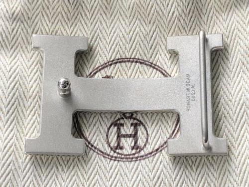 Brand 100% Hermes Guilloche Buckle for Sz belt Silver