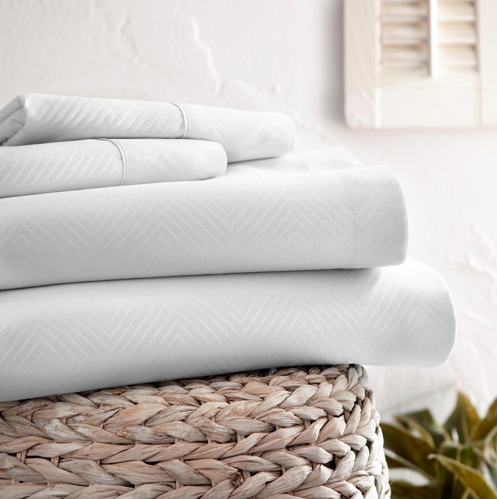 Chevron Embossed Bed Sheet Set - Extra Deep Pocket Ultra Sof