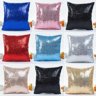 Christmas Sequins Pillow Case Throw Cushion Cover Home Pillo
