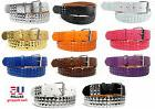 COLORS METAL STUDS BONDED LEATHER BELT w REMOVABLE BUCKLE MA