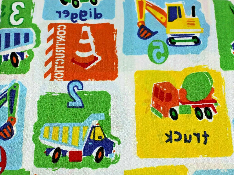 construction trucks colorful twin sheet set kids