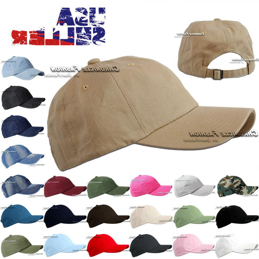 Cotton Hat Baseball Cap Washed Polo Style Plain Adjustable S