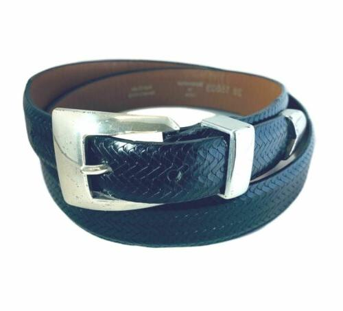 dark brown weave woven leather belt mens