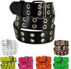 Double Silver Grommet 2 Holes Leather Belt 2-Prong buckle Un