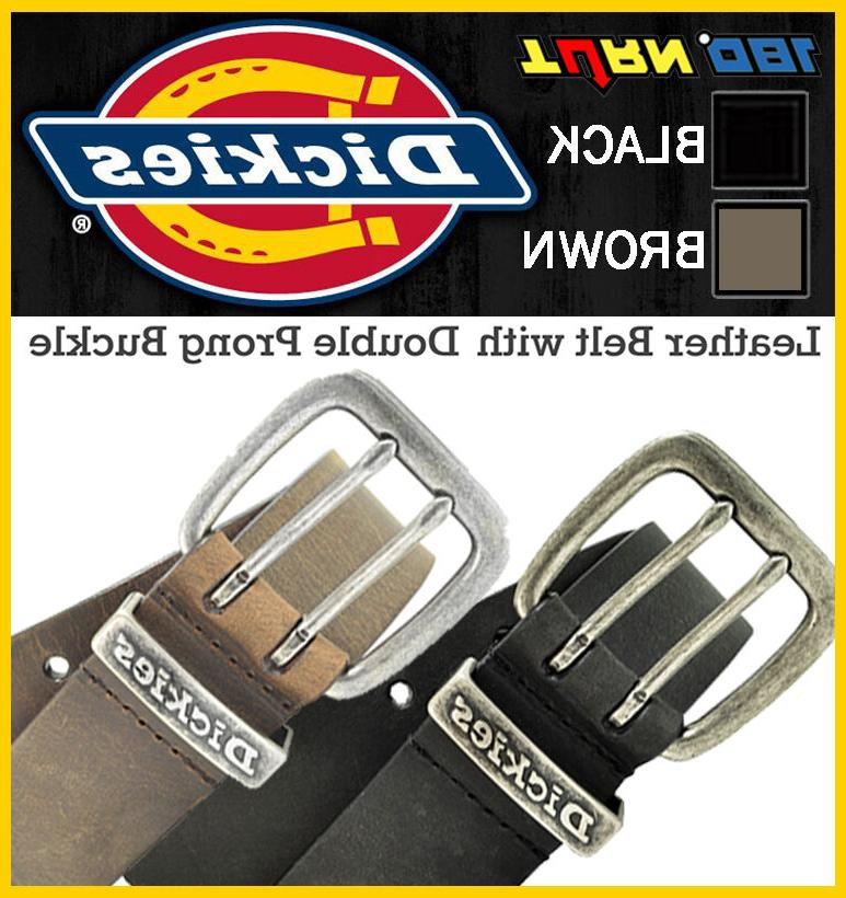 genuine leather belt double hall prong buckle