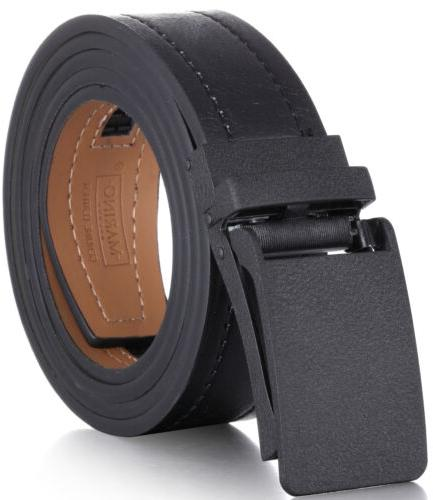 genuine leather casual ratchet belt with automatic