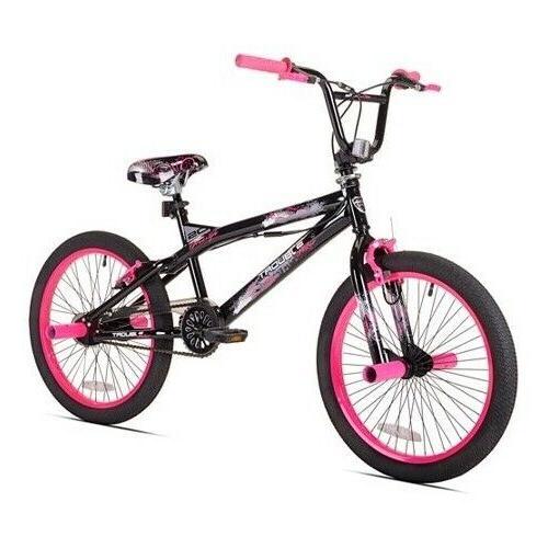 Girls BMX Bike 20 Inch Bicycle Steel Kent Trouble Black Pink