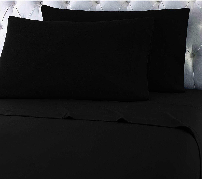 Heavy Winter Flannel 100% Cotton Dark Midnight Black Pillow