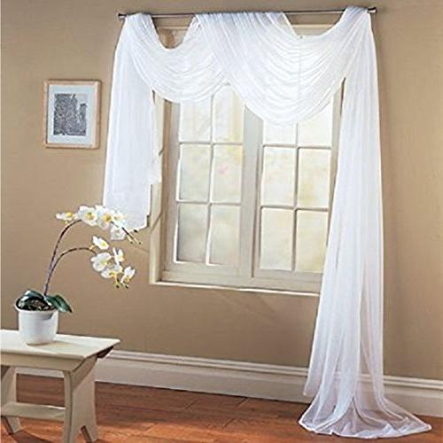 home wide long white sheer