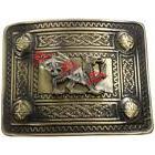 Kilt Belt Buckle Welsh Dragon Brass 4 Dome Mirror Design / K