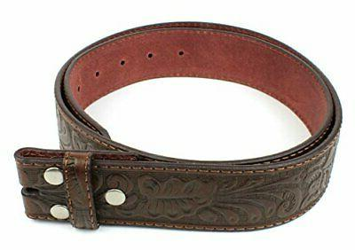 leather belt strap with embossed western scrollwork