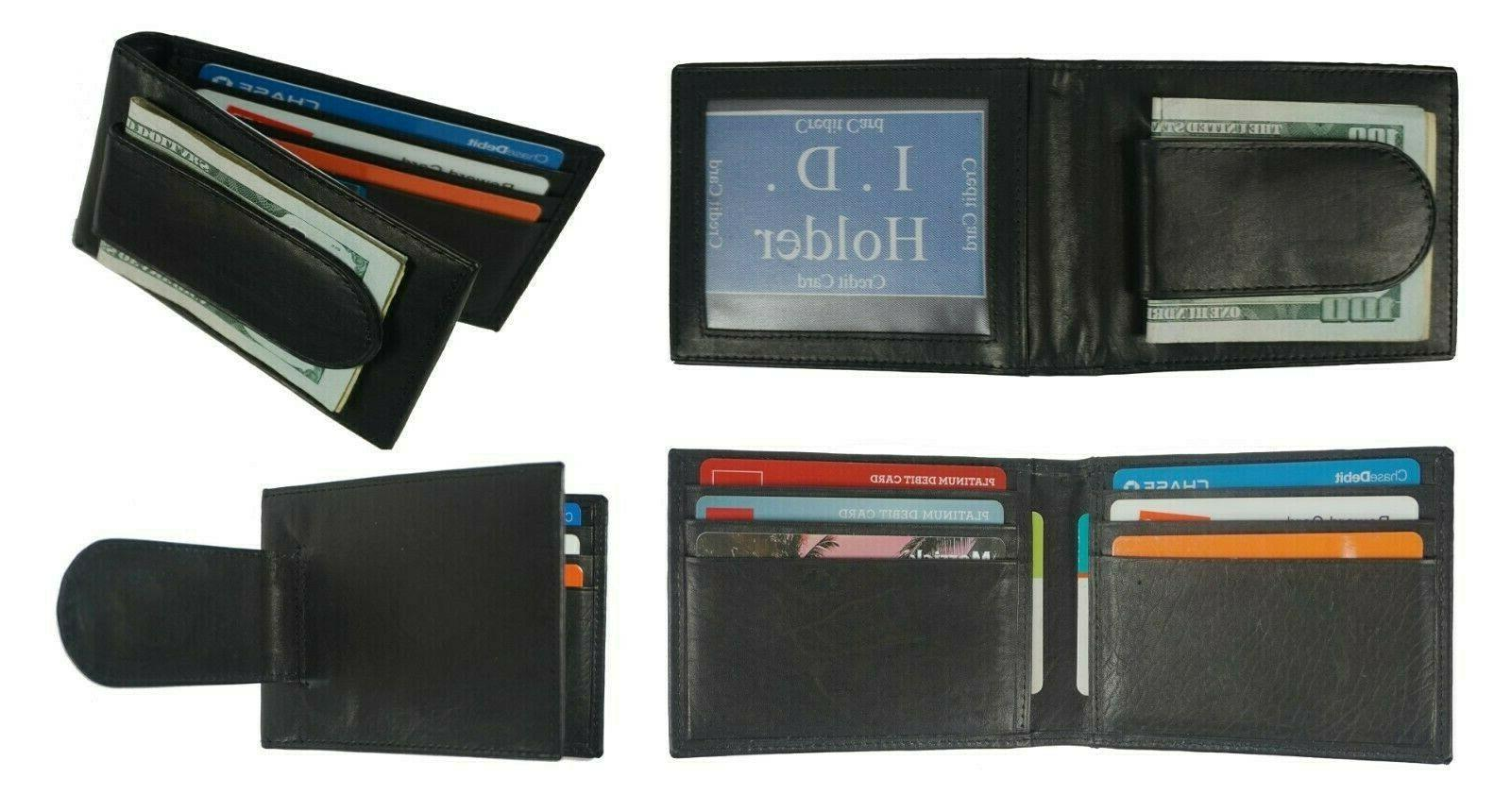 leather bifold slim id card