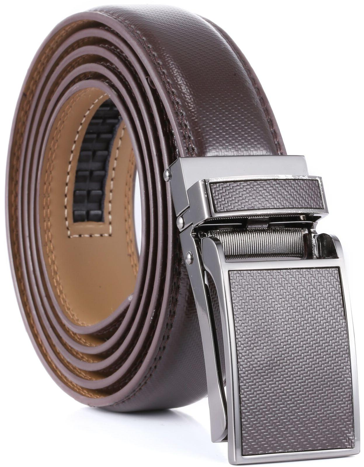 Marino Avenue Men's Genuine Leather Ratchet with Buckle,