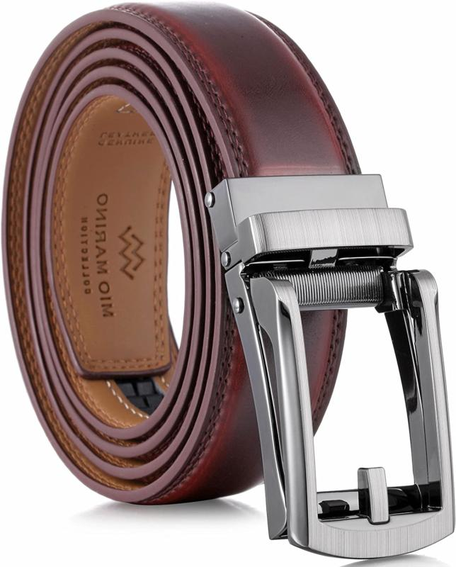 Marino Mens Genuine Leather Ratchet Dress Belt With Open Lin