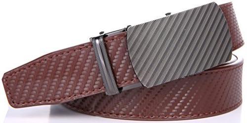 "Marino Ratchet Belt Adjustable Click Automatic Sliding brown -Adjustable to 44"""