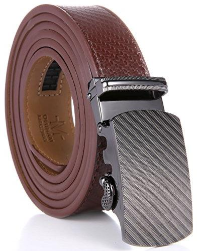 """Marino Ratchet Leather Belt Adjustable Click with Automatic Buckle brown -Adjustable 28"""" to"""