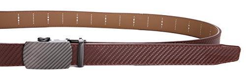 Marino Ratchet Leather Belt Adjustable Click Belt Automatic Sliding brown to