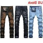 Men Denim Ripped Jeans Stretch Slim Fit Distressed Straight