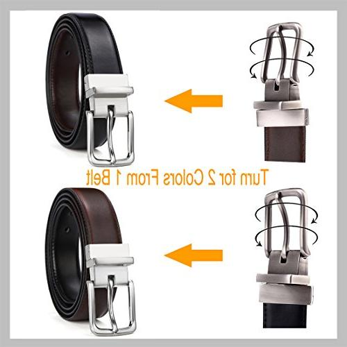 Men's Leather Belt for Single Prong Buckle in Gift Box, Trim Fit