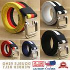 Men's Jean Belt, Casual Canvas Webbed Belt, Double Ring Meta