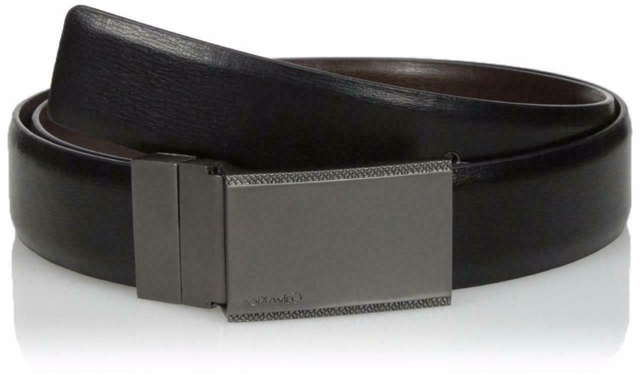 Calvin Klein Men's Reversible Plaque Buckle 30mm Genuine Lea