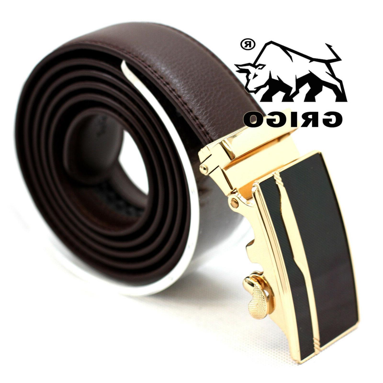 Men's Designer Brown Leather Dress Belt Sliding Ratchet Au