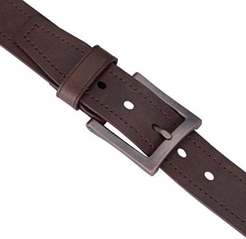 "Marino Avenue Genuine Leather Belt, Style, 1.5"" Coffee 2-52"