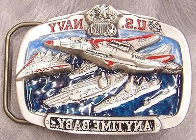 Military Belt Buckle pewter U S Navy Anytime Baby NEW