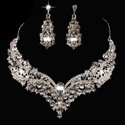 New Wedding Bridal Queen Shiny Rhinestone Necklace Earrings