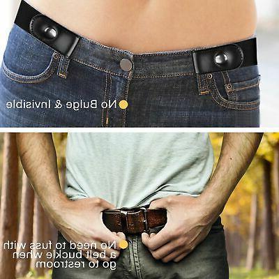 no buckle women men stretch belt elastic