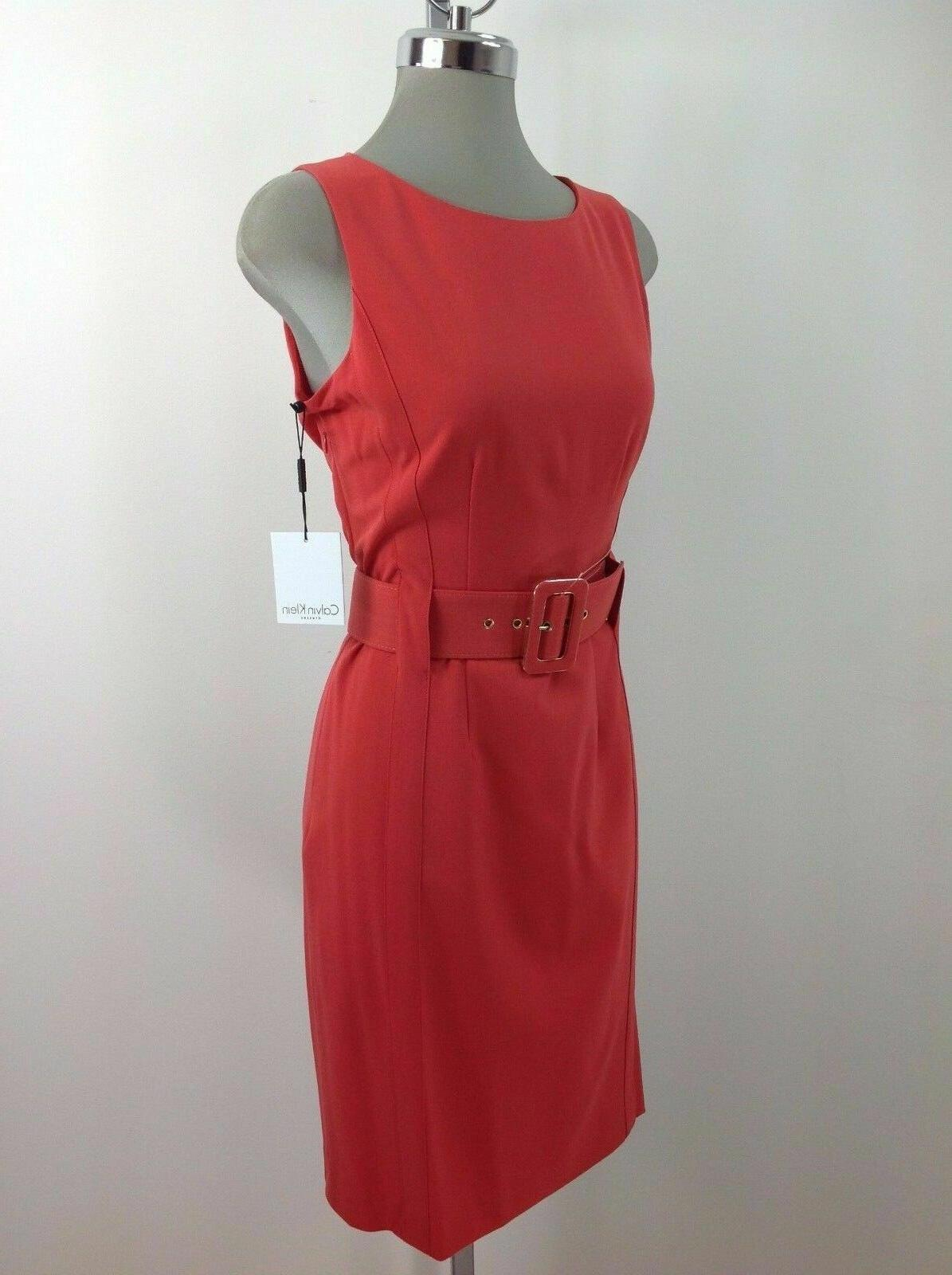 Calvin RED Wide Belt Work Dress,4