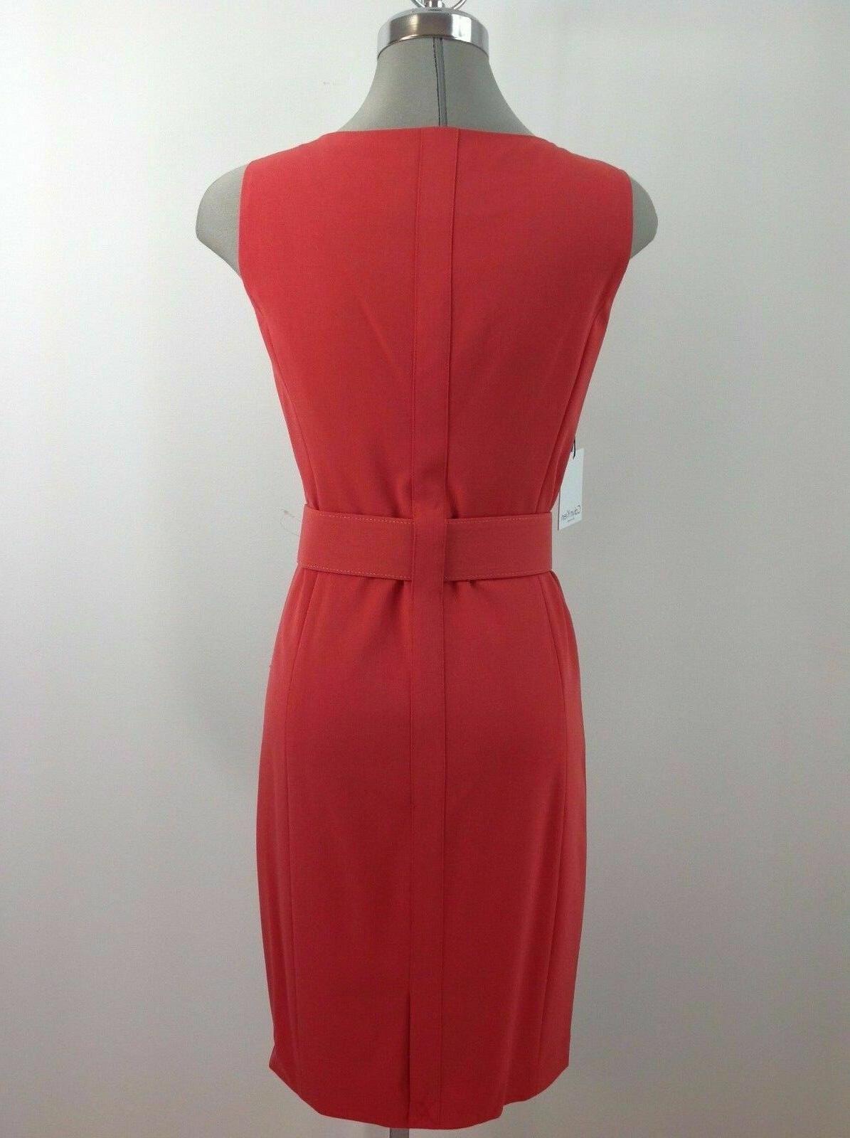 Calvin RED Dress Belt Buckle to Work Dress,4