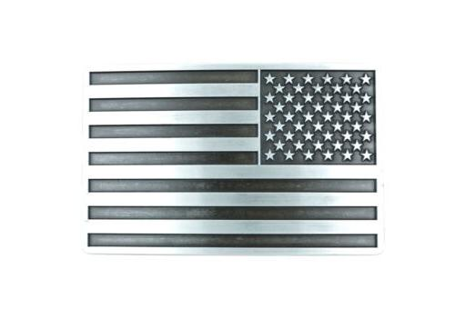 patriotic american usa flag silver vintage finish