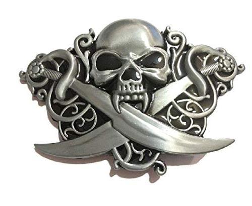 pirate skull swords vampire antique silver color