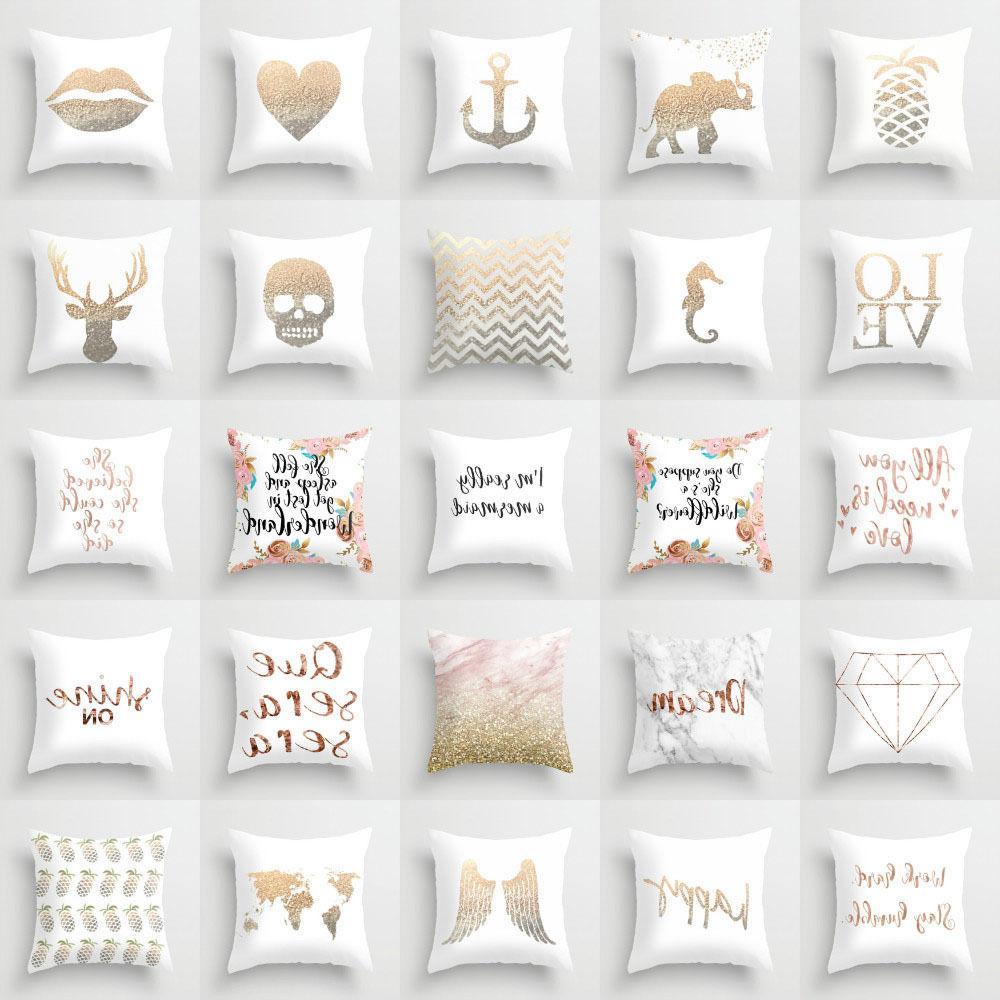 Rose Gold Marble Letter throw pillows case sofa cushion cove
