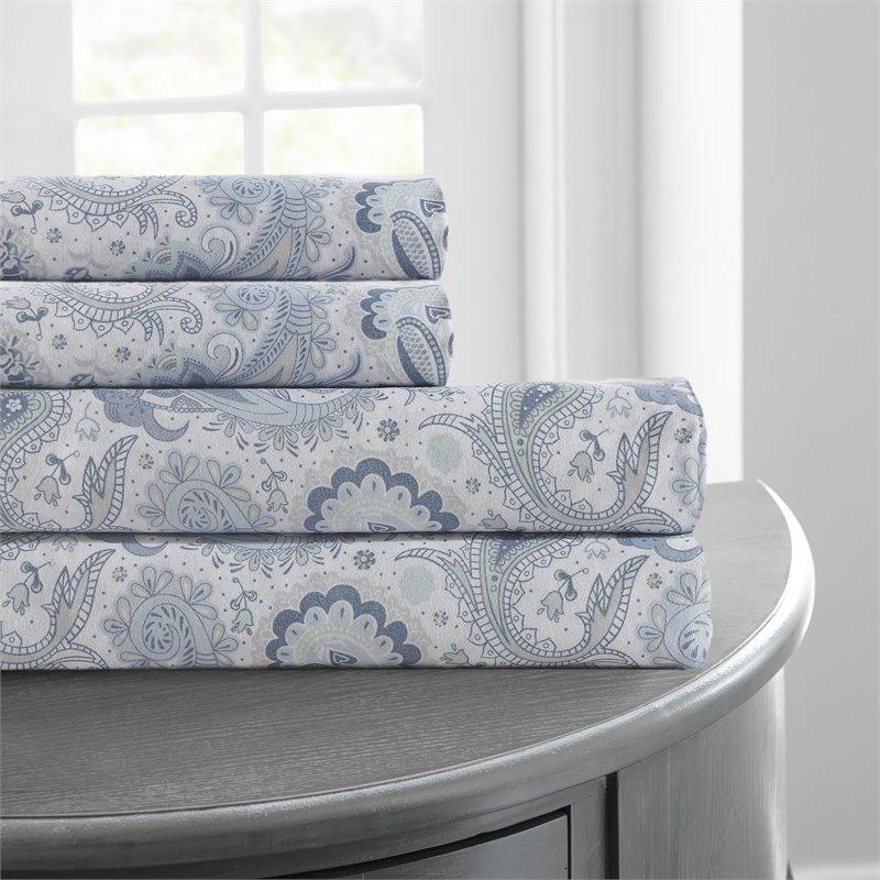 printed 4 piece sheet set soft paisley