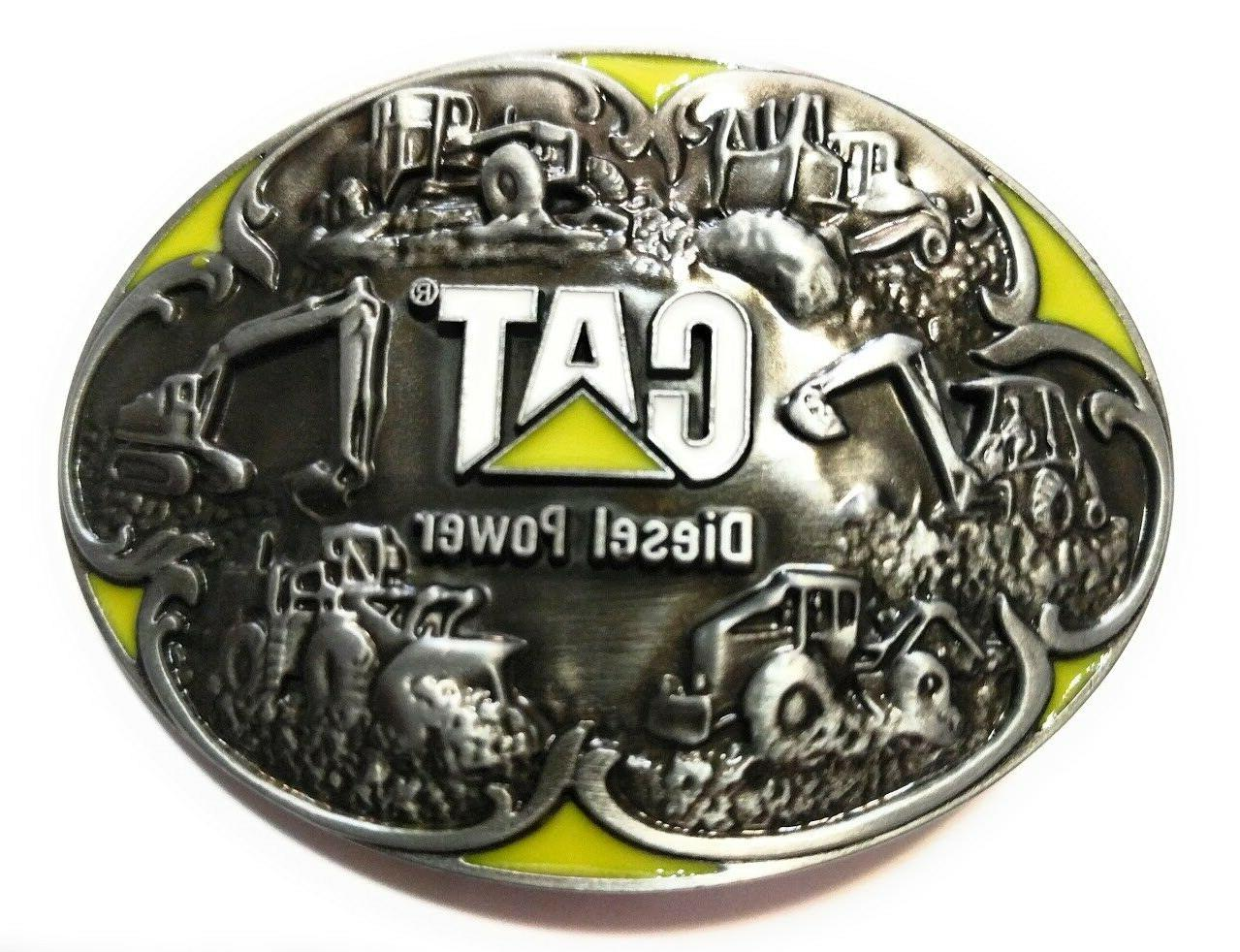 ♈PWT3 CAT CATERPILLAR Belt Buckle ♈ pewter yellow color