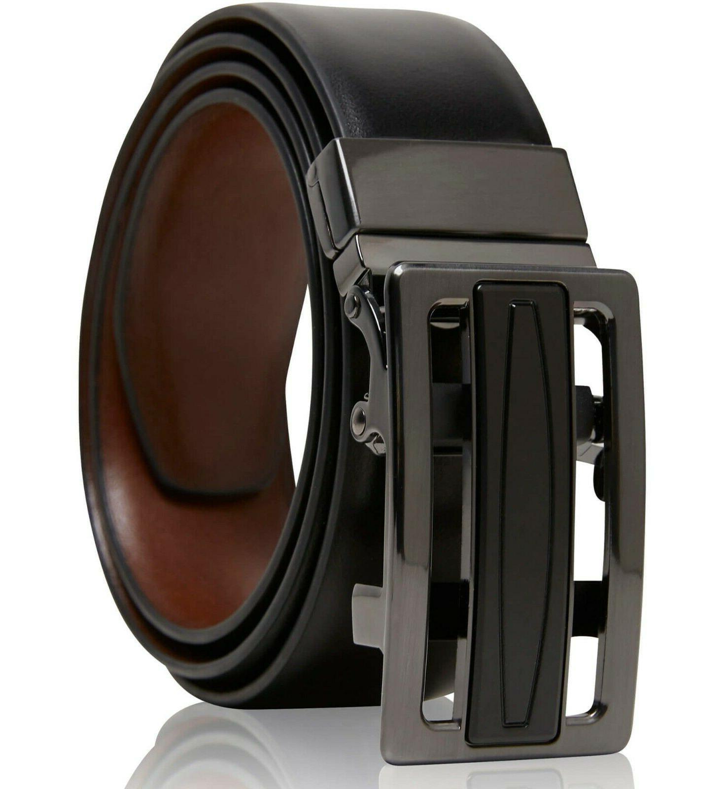 real leather belt mens reversible ratchet belt