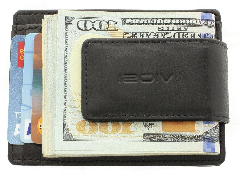 rfid men s leather magnetic front pocket