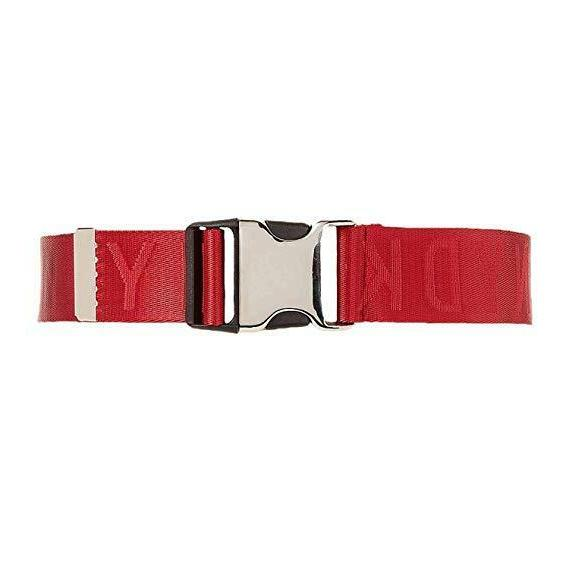 Dkny Seat Belt-Buckle Logo Belt Red/Silver M/L Womens Red