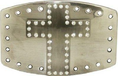 silver cross large belt buckle rhinestones