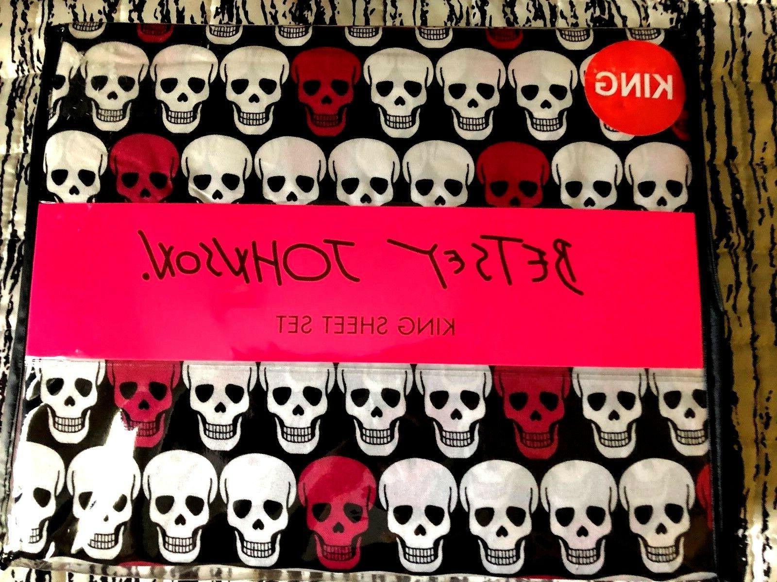 skull heads king sheet set nwt