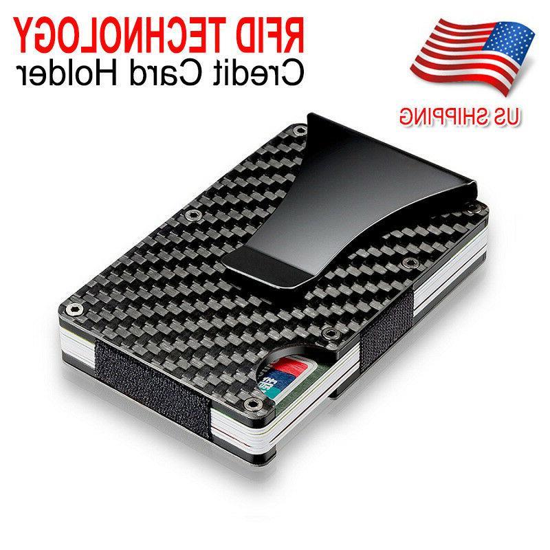 Slim Carbon Fiber Credit Card Holder RFID Blocking Metal Mon