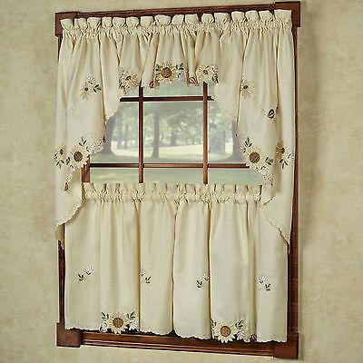 Sunflower Cream Embroidered Kitchen Curtains - Tiers Valance
