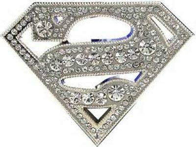 superman supergirl 3 rhinestone silvertone belt buckle